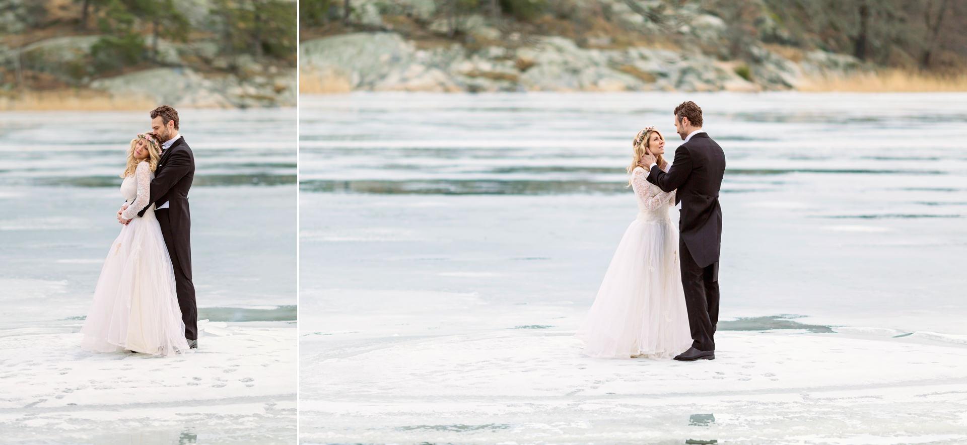 Bröllopsporträtt vinterbröllop Hagaparken